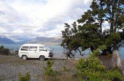 Camper van travel, camping Stock Photo