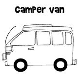 Camper van of vector illustration Royalty Free Stock Photo