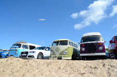 Camper vans at the beach Royalty Free Stock Photos