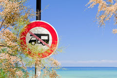 Camper vans prohibited sign by the sea Stock Photography