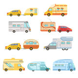 Camper Vans With Trailers Collection Stock Photography