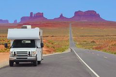 Recreational vehicle on the highway, Monument Valley, USA stock image