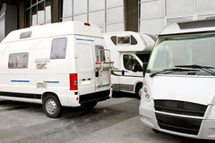 Campers. And recreation vehicles at camper site stock photo