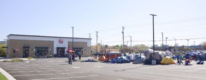 Campsite at Chick Fil A Restaurant Bartlett, Tennessee. Campers arrive early at the site of a new Chick-fil-A in Bartlett, Tennessee, Chick-fil-A is an American Royalty Free Stock Photography