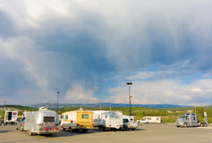 Campers at carcross in the yukon territories Royalty Free Stock Photography