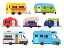 Campers cars set. Different resort trailers. Vector pictures in flat style Stock Image