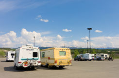 Campers congregating in whitehorse's walmart parking lot Stock Image