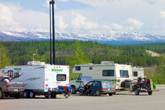 Campers congregating in whitehorse's walmart parking lot Royalty Free Stock Photography