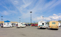 Campers congregating in whitehorse's walmart parking lot Royalty Free Stock Photos