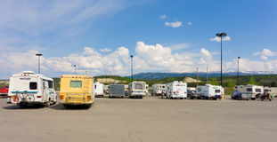 Campers congregating in whitehorse's walmart parking lot Stock Images
