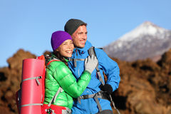 Campers couple hiking enjoying looking at view Stock Photo