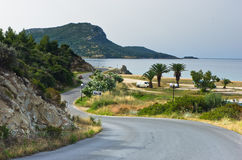 Campers favorite site for summer vacations near Destenika beach in Sithonia Stock Photos