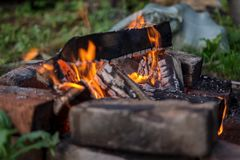 Coals from the firewood left by tourists royalty free stock images