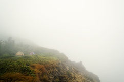 Campers In Foggy Mountain Royalty Free Stock Photos