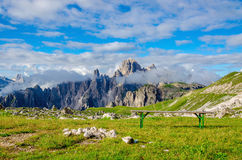 Campers and parking lot in Dolomites Royalty Free Stock Photo