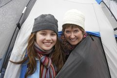 Campers Peeking Heads Out Of Tent Stock Photos