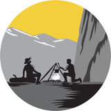 Campers Sitting Cooking Campfire Circle Woodcut Stock Photography