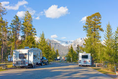 Campers at tunnel mountain in alberta, canada Royalty Free Stock Photo