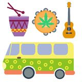 Campers vacation travel car and rastafarian music holiday trailer house vector illustration flat transport. Campers vacation travel car and rastafarian music Stock Photos