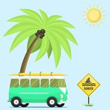 Campers vacation travel car summer nature background holiday trailer house vector illustration flat transport. Classic caravan campsite automobile retro Stock Photos