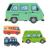 Campers vacation travel car summer nature holiday trailer house vector illustration flat transport. Classic caravan campsite automobile retro minivan camp Stock Photography