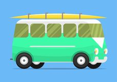 Campers vacation travel car summer nature holiday trailer house vector illustration flat transport Royalty Free Stock Images