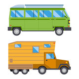 Campers vacation travel car summer nature holiday trailer house vector illustration flat transport Royalty Free Stock Photo