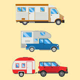 Campers vacation travel car summer nature holiday trailer house vector illustration flat transport Royalty Free Stock Image