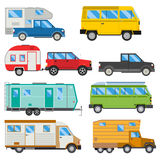 Campers vacation travel car summer nature holiday trailer house vector illustration flat transport Royalty Free Stock Photography
