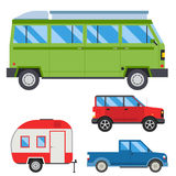 Campers vacation travel car summer nature holiday trailer house vector illustration flat transport Stock Photos
