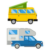 Campers vacation travel car summer nature holiday trailer house vector illustration flat transport Stock Photography