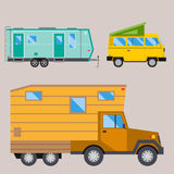 Campers vacation travel car summer nature holiday trailer house vector illustration flat transport Stock Photo