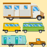 Campers vacation travel car summer nature holiday trailer house vector illustration flat transport Royalty Free Stock Photos