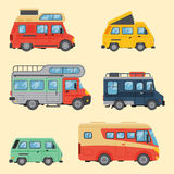 Campers vacation travel car summer nature holiday trailer house vector illustration flat transport. Classic caravan campsite automobile retro minivan camp Royalty Free Stock Photos