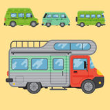 Campers vacation travel car summer nature holiday trailer house vector illustration flat transport Stock Image