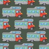 Campers vacation travel car summer seamless pattern trailer house vector illustration flat transport Royalty Free Stock Photo