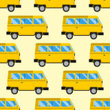 Campers vacation travel car summer seamless pattern trailer house vector illustration flat transport Royalty Free Stock Images