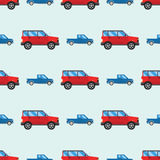 Campers vacation travel car summer seamless pattern trailer house vector illustration flat transport Royalty Free Stock Photography