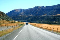 Campervan. On highway in New Zealand Royalty Free Stock Images