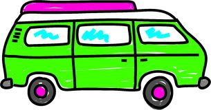 Campervan. Green campervan isolated on white - bus art series Stock Photos