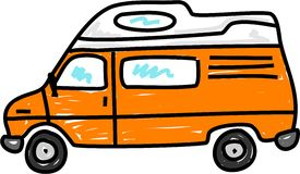 Campervan. Orange campervan isolated on white - bus art series Royalty Free Stock Images