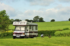 Campervan camping Stock Image