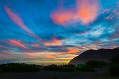 Campervan camping at Peketa Beach, Kaikoura, South Island of New Zealand Royalty Free Stock Photos
