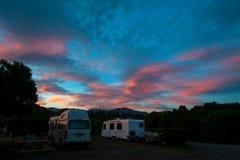 Campervan camping at Peketa Beach, Kaikoura, South Island of New Zealand Stock Images