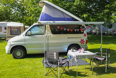 Campervan on Campsite stock image