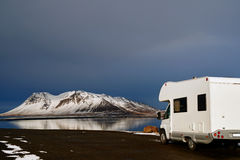 Campervan through fjords Royalty Free Stock Photo