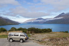 Campervan in front of Lake Wakatipu, New Zealand Stock Photo