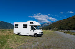 Campervan on a rest area Royalty Free Stock Photos