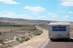 Campervan on the road. Campervan driving on the road, South Australia Stock Photography