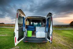 Campervan. A small campervan on Bodmin Moor in the Cornish countryside royalty free stock image